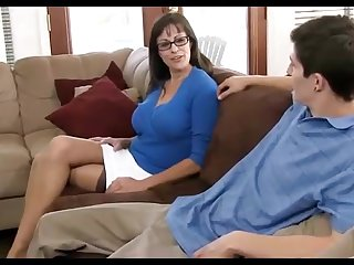 Dark haired mummy loves wearing ebony pantyhose, while hotwife on her hubby in the living apartment